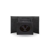 Byu Laser Engraved Black Trifold Wallet