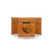 Oregon State Laser Engraved Brown Trifold Wallet