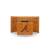 Braves Laser Engraved Brown Trifold Wallet