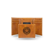 Astros Laser Engraved Brown Trifold Wallet