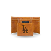 Dodgers Laser Engraved Brown Trifold Wallet