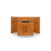 Cardinals - Sl Laser Engraved Brown Trifold Wallet