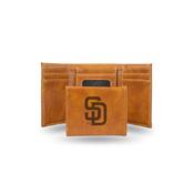 Padres Laser Engraved Brown Trifold Wallet