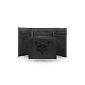 Hornets Laser Engraved Black Trifold Wallet
