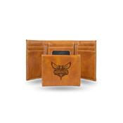 Hornets Laser Engraved Brown Trifold Wallet