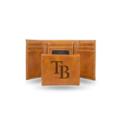 Rays Laser Engraved Brown Trifold Wallet