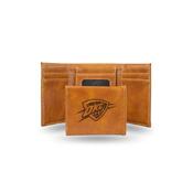 Thunder Laser Engraved Brown Trifold Wallet