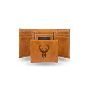 Bucks Laser Engraved Brown Trifold Wallet