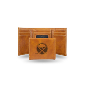 Sabres  Laser Engraved Brown Trifold Wallet