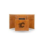 Flames  Laser Engraved Brown Trifold Wallet