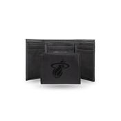 Heat Laser Engraved Black Trifold Wallet