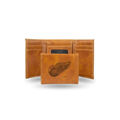 Red Wings  Laser Engraved Brown Trifold Wallet