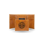 Nuggets Laser Engraved Brown Trifold Wallet