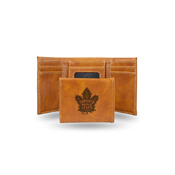 Maple Leafs  Laser Engraved Brown Trifold Wallet