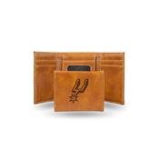 Spurs Laser Engraved Brown Trifold Wallet