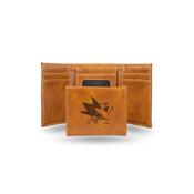 Sharks  Laser Engraved Brown Trifold Wallet