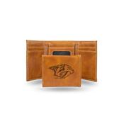 Predators  Laser Engraved Brown Trifold Wallet