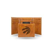 Raptors Laser Engraved Brown Trifold Wallet