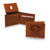 San Francisco 49ers Genuine Leather Embossed Pecan Billfold Wallet