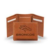 Denver Broncos Genuine Leather Pecan Tri-Fold Wallet