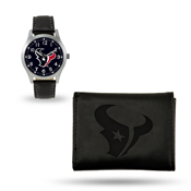 Texans Sparo Black Watch And Wallet Gift Set