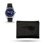 Patriots Sparo Black Watch And Wallet Gift Set
