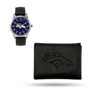 Broncos Sparo Black Watch And Wallet Gift Set