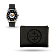 Steelers Sparo Black Watch And Wallet Gift Set