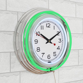 14 Inch Double Ring Neon Clock Green Outer White Inner