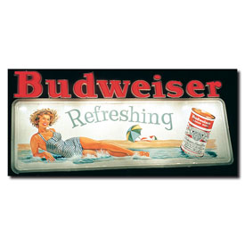 Budweiser Vintage Ad - Refreshing - Canvas 14 x 30 Inch