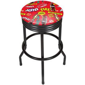 Coca Cola Black Ribbed Bar Stool - Pop Art