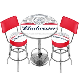 Budweiser Label Game Room Combo - 2 Stools w/Back & Table