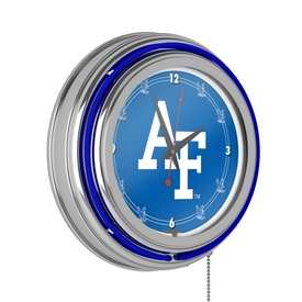 Air Force Falcons Chrome Double Ring Neon Clock