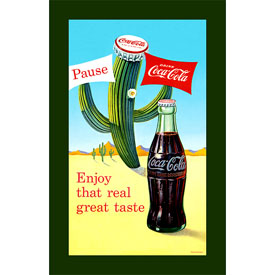 Coke Pause Cactus - 15 x 28 Inch Stretched Canvas Print
