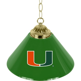 University of Miami Single Shade Brass Bar Lamp - 14 inch