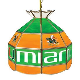 University of Miami 16 Inch Handmade Stained Glass Lamp - Sebastian