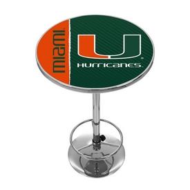 University of Miami Chrome Pub Table - Text