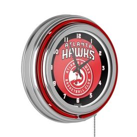 Atlanta Hawks NBA Chrome Double Ring Neon Clock