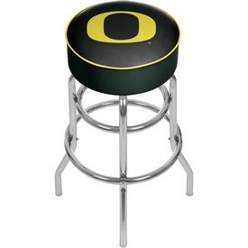 University of Oregon Chrome Bar Stool with Swivel - Carbon Fiber