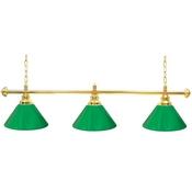 Premium 60 Inch 3 Shade Billiard lamp, s Green and Gold gameroom lamps