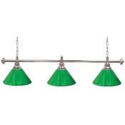 Premium 60 Inch 3 Shade Billiard lamp, s Green and Silver gameroom lamps