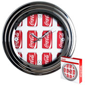 Coca-Cola Clock w/ Chrome Finish - Cans Style - 11.75 inches