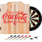 Coca Cola Dart Cabinet Set with Darts and Board - 5 Cents Red