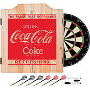 Coca Cola Dart Cabinet Set with Darts and Board - Refreshing