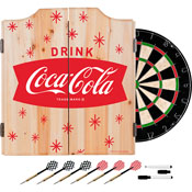 Coca Cola Dart Cabinet Set with Darts and Board - Star