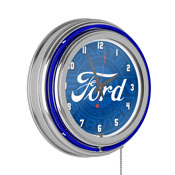 Ford Chrome Double Rung Neon Clock - Ford Genuine Parts