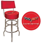 Corvette C6 Padded Bar Stool with Back - Red