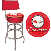 Corvette C1 Padded Bar Stool with Back - Red on Red