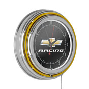 Chevrolet Chrome Double Rung Neon Clock - Chevy Racing
