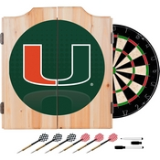 University of Miami Wood Dart Cabinet Set - Reflection